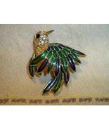 SALE! Vintage 1960s D'Orlan Enameled Hummingbird Brooch Austrian Crystal... - $42.99