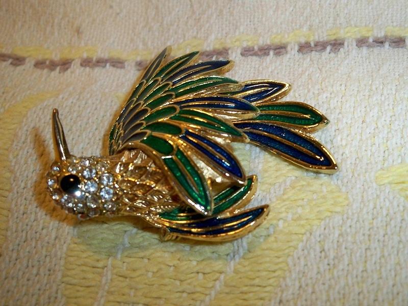 SALE! Vintage 1960s D'Orlan Enameled Hummingbird Brooch Austrian Crystals Black