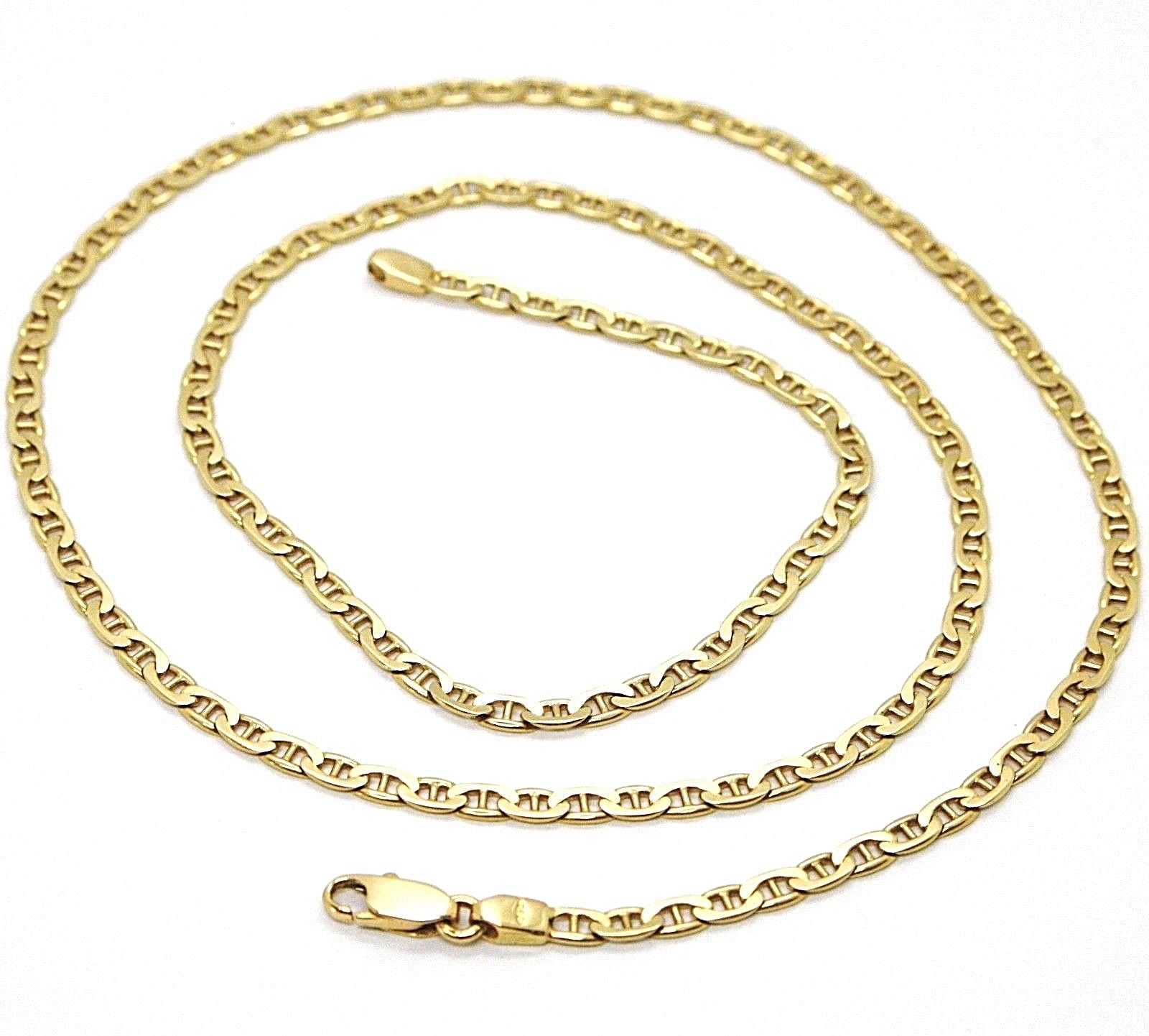 18K YELLOW SOLID GOLD CHAIN FLAT NAVY MARINER CROSSED LINK 3 MM, 20 INCHES