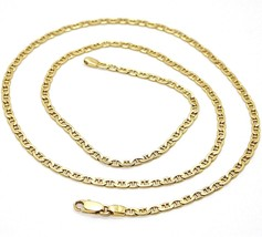 18K YELLOW SOLID GOLD CHAIN FLAT NAVY MARINER CROSSED LINK 3 MM, 20 INCHES  image 1