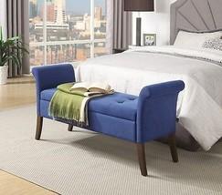 Upholstered Storage Bench Bedroom Seat Tufted Wood Backless Armrest Hall... - £110.05 GBP