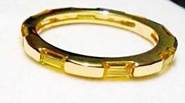 Yellow Topaz Baguette Eternity Ring, Yellow Gold / Silver, Size 7.25, 0.... - $19.99
