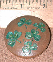 Vintage Irish clover leaves Pin Carved Wood shamrocks hand painted brooch - $8.25