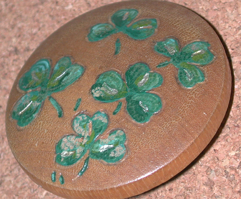 Vintage Irish clover leaves Pin Carved Wood shamrocks hand painted brooch
