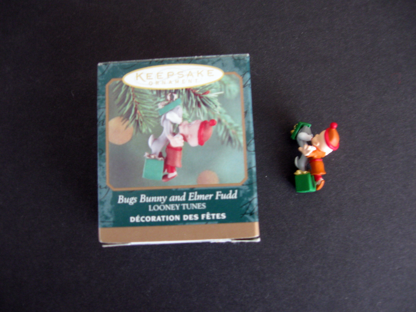 1999 Miniature Hallmark Keepsake Bugs Bunny and Elmer Fudd Ornament with Box