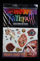 Realistic Gross-TEMPORARY FAKE TATTOOS SET-Horror Zombie Costume Makeup-... - $3.93