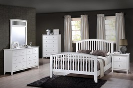 Crown Mark B7500 Lawson Modern White Finish Solid Wood King Size Bedroom Set 5Pc
