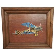 Vtg Print On Wood Panel Biplane Airplane Signed Arkins - $39.60
