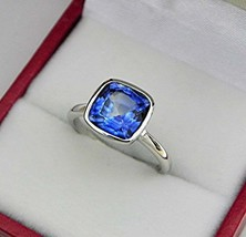 Solitaire Engagement Ring 1Ct Cushion Cut Sapphire 10k White Gold Finish - $77.22