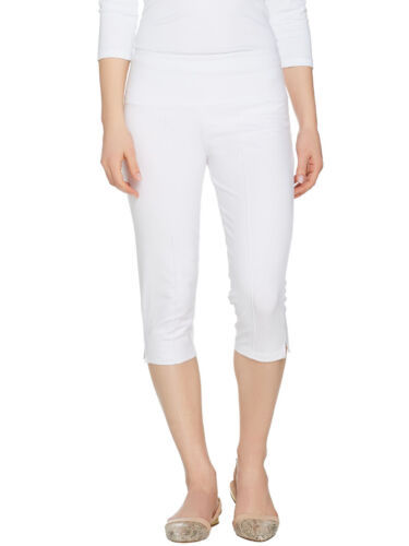 WOMEN WITH CONTROL Size L Tummy Control Pedal Pushers WHITE