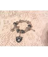 NeW Oakland Raiders NFL Dangle  Charm Bracelet Black and Silver European... - $15.99