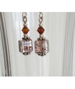 Brown Square Crystal Lampwork Foil Earrings - $6.50