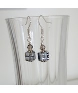 Grey Square Crystal Lampwork Foil Earrings - $6.50