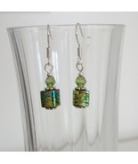 Olive Green Square Crystal Lampwork Foil Earrings - $6.50