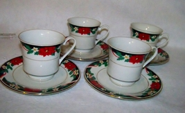 Tienshan Deck The Halls Set of 4 Cups and Saucers - $10.00