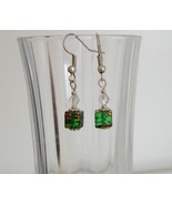 Green Square Crystal Lampwork Foil Earrings - $6.50