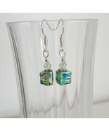 Light Green Square Crystal Lampwork Foil Earrings - $6.50