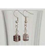 Tan Square Crystal Lampwork Foil Earrings - $6.50