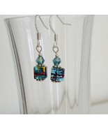 Dark Blue Square Crystal Lampwork Foil Earrings - $6.50