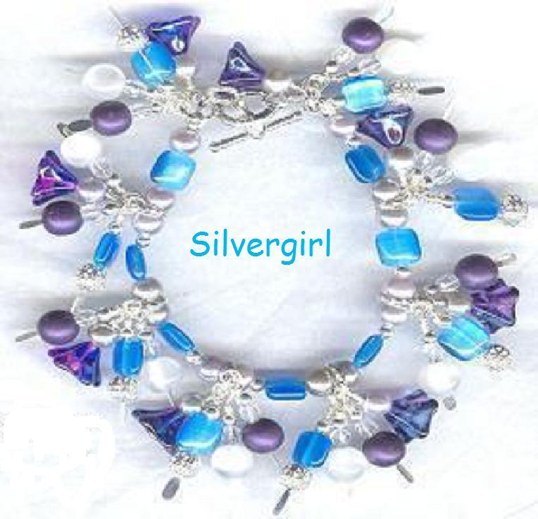 Loaded Flower Glass Silver Cat's Eye Charm Bracelet