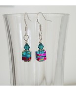 Blue Square Crystal Lampwork Foil Earrings - $6.50