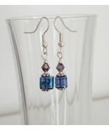 Purple Square Crystal Lampwork Foil Earrings - $6.50