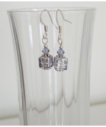Lilac Square Crystal Lampwork Foil Earrings - $6.50