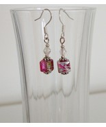 Pink and Green Square Crystal Lampwork Foil Earrings - $6.50