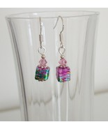 Pink Square Crystal Lampwork Foil Earrings - $6.50