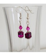 Hot Pink Square Crystal Lampwork Foil Earrings - $6.50