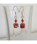 Orange Square Crystal Lampwork Foil Earrings - $6.50