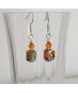 Light Orange Square Crystal Lampwork Foil Earrings - $6.50