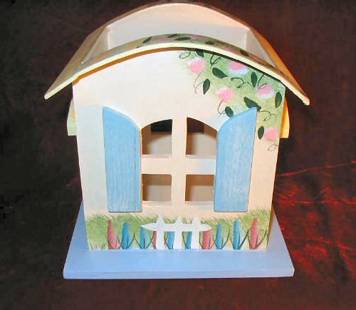 Ganz Spring  Easter Wooden Cottage Candle Jar Holder