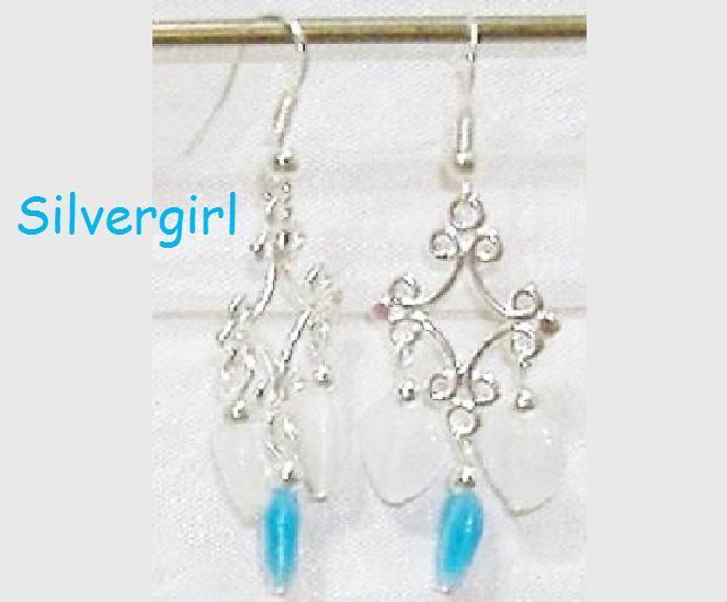 Fiber Optic Aqua White Heart Silver Chandelier Earrings