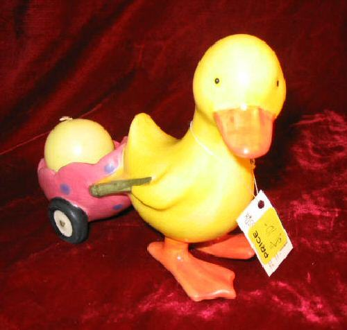 2 NEW RUSS Spring Easter Bunny Duck Candle & Holder