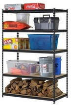 Heavy Duty Metal Storage 5 Shelves Shelf Garage Steel Z Beam Shelving Rack Black - $96.99