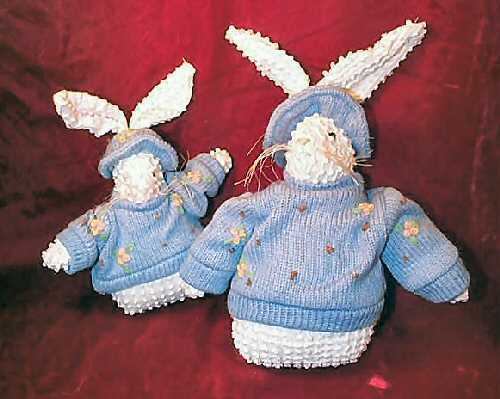 Pair of NEW Crazy Mountain Blue & White Easter Bunny Rabbit