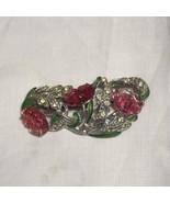 Vintage Art Deco Nouveau Rhinestone Enamel Gripoix Poured Glass Lily Pin... - $225.00