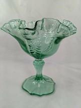 "Fenton Green Compote Crimped Dish Pedestal 6"" - $24.95"