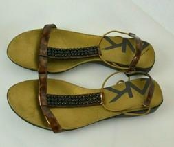 ANNE KLEIN Women's Brown & Gold Ankle Strap Sandals Shoe Sz 8 - $23.74