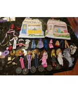 6 Glamour Gals Girls Dolls w Cafe and Boutique Purses Cases Kenner Vinta... - $79.88