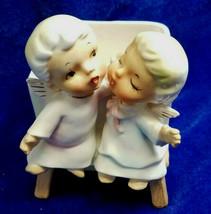 Lefton Kissing Angel Figurines Boy Girl Opalescent Planter Vase 1264 1950s - $14.85