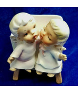 Lefton Kissing Angel Figurines Boy Girl Opalescent Planter Vase 1264 1950s - $14.85