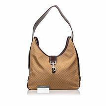 Pre-Loved Gucci Brown Nylon Fabric Micro GG Shoulder Bag Italy - $307.62