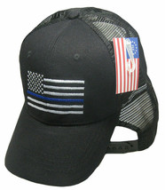 USA Thin Blue Line Police Law Enforcement Hat Embroid Snapback Mesh Blac... - $21.77