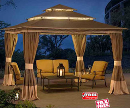 Outdoor Netting Canopy Gazebo With Curtains Vented Sun Shade Tent Patio ... - $789.00