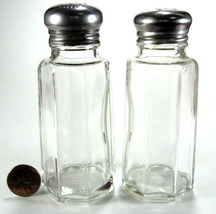 Mid Century Glass Restaurant Salt And Pepper Shakers Stainless Lids - $10.00