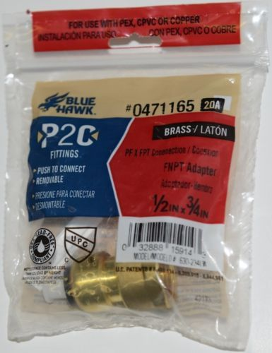 Blue Hawk 0471165 P2C PF X FPT Connection FNPT Adapter Brass