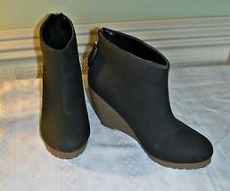 Vintage H & M Funky Wedge Almost Black Dark Charcoal Back Zip Ankle Boot 6 39 - $17.80