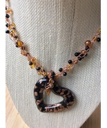 Wire Crochet Black Gold Crystal Heart Necklace Hand Made in USA Gifts fo... - $29.99